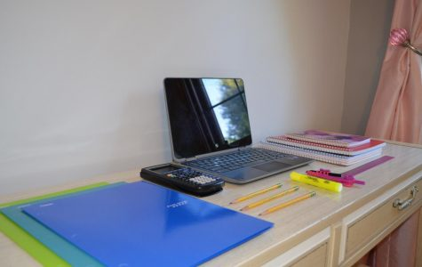 A student's home set up for remote learning.