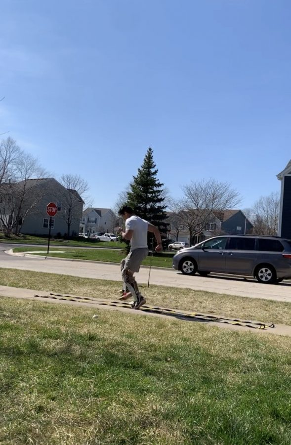 Because of the coronavirus, student-athletes had to get creative when training, and senior Marco Torres is no exception. He utilized the sidewalk outside of his house for space to do ladder runs.