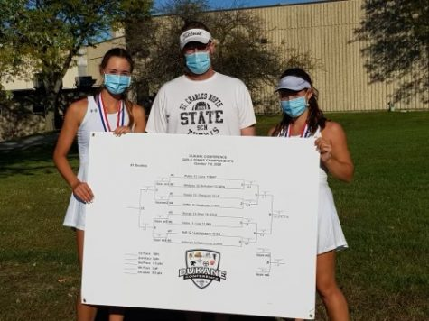 Leia Papanicholas and Tatum Settelmyer with their coah, Sean Masoncup, after winning the Dukane Conference as a doubles team.