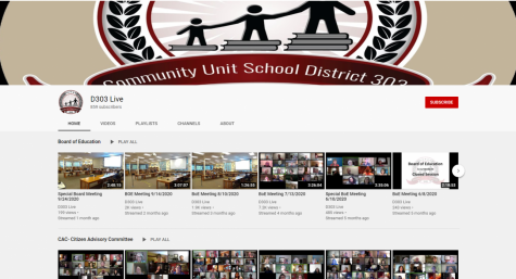 A screenshot of the Districts YouTube channel where all of the board meetings are live streamed and archived.