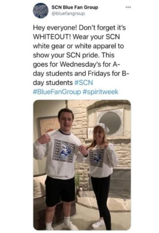 Blue Fan Group spreads the word about spirit days through their Twitter account.