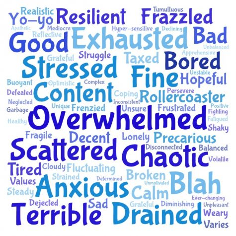 "Stargazer asked both students and teachers: ""what is one word that describes your mental health during the pandemic?"" The above word cloud is encompasses of the answers of the 95 staff members and 91 student responses. The more often the word was said, the bigger it is. Special thanks to all those who responded to the survey."