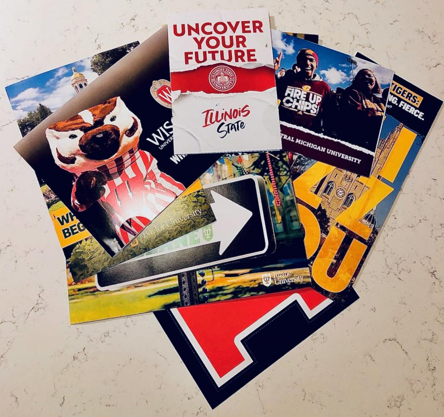 Not only do colleges send a variety of emails to students trying to pique interest in the programs they offer, they also mail out brochures, flyers, and viewbooks to further encourage students to apply.