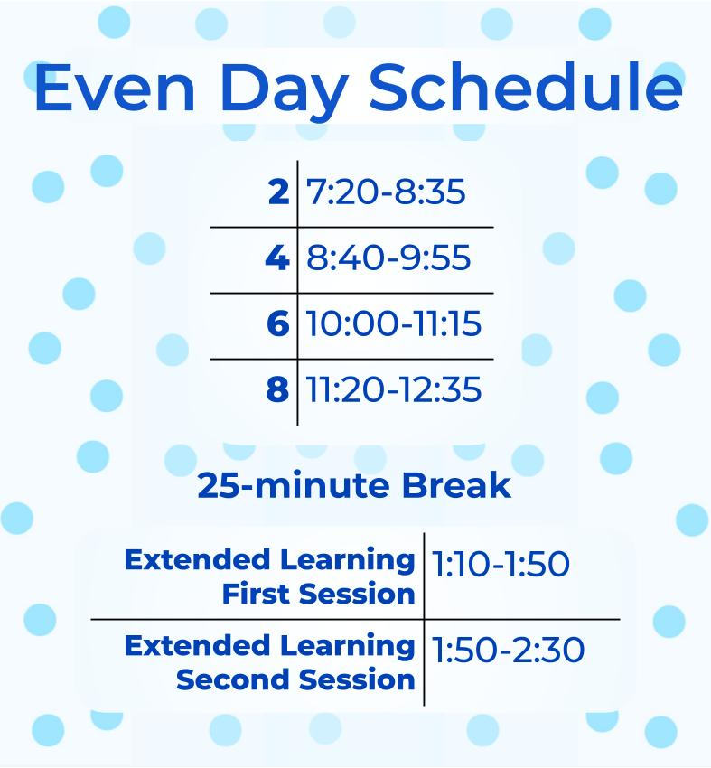 Since Jan. 19, students have been following this schedule.