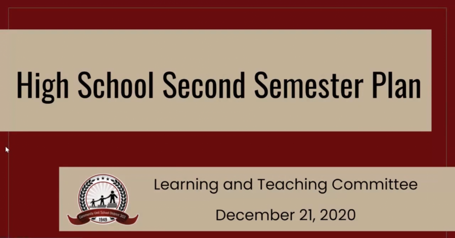 On Dec. 21, Mark Moore, the assistant superintendent, alongside Audra Christenson and Jim Richter, North and East principals respectively, presented the second semester plan to the board. The above image is the first slide of their presentation.