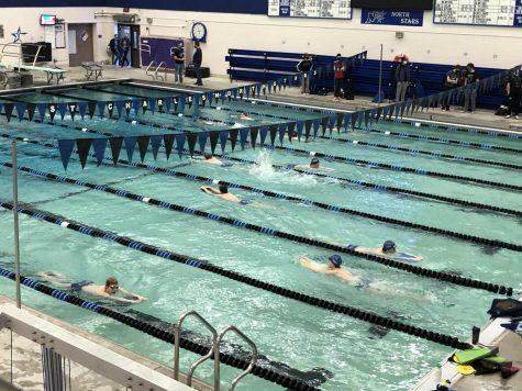 Boys varsity swim and dive team practicing on Wednesday, Feb. 3.