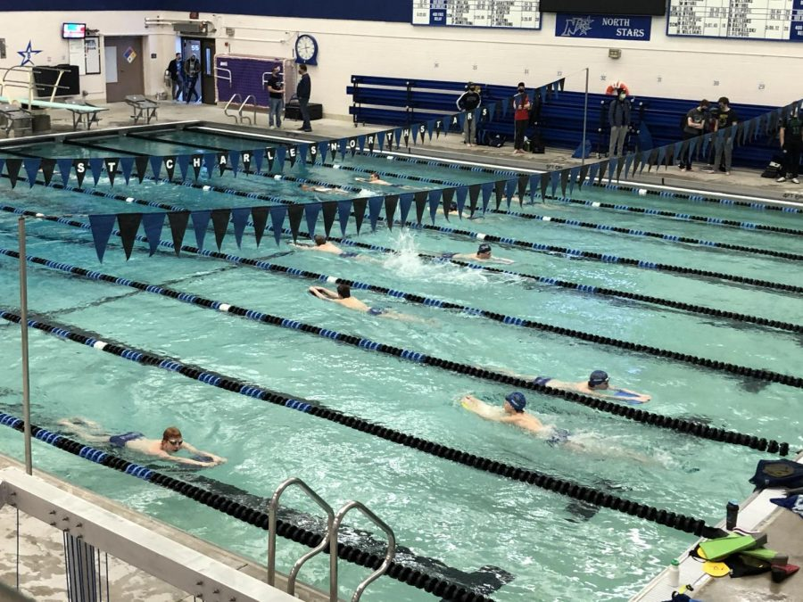 Boys varsity swim and dive team practicing on Wednesday, Feb. 3.