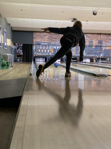 Gorka bowls during practice at St. Charles Bowl.