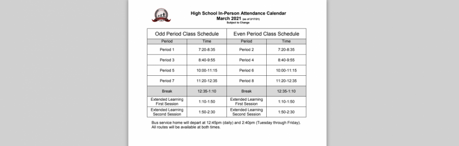 Since Jan. 19, all North students and teachers have been following the above schedule.