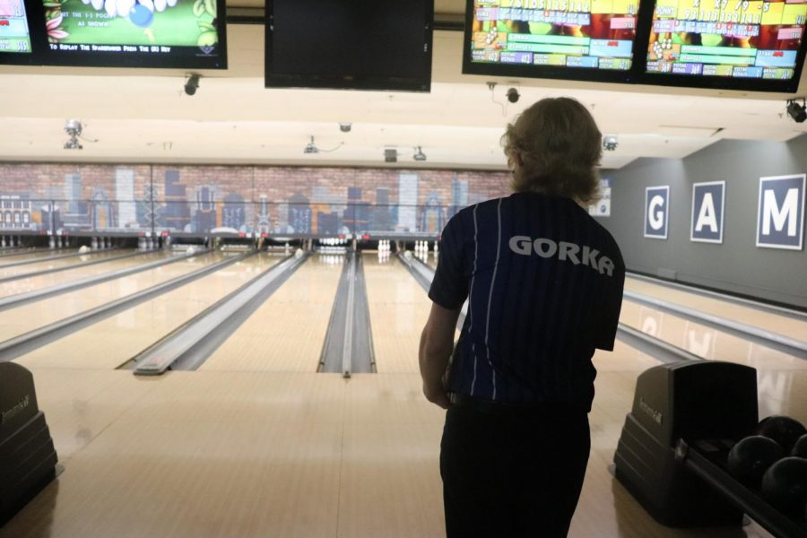 Senior varisty bowler Ronnie Gorka stands while staring down the pins at the March 2 meet against Lake Park High School