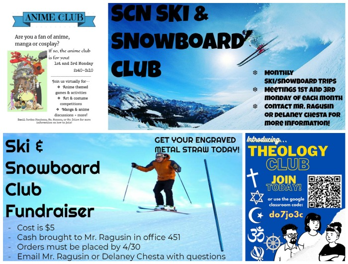 Since the beginning of second semester, North has introduced three new clubs: Anime Club, Ski and Snowboard Club and Theology Club.