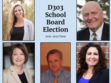 Candidates for the April 6 D303 School Board election; top, left to right: Kate Bell, Jim Stombres; bottom, left to right: Heidi Fairgrieve, Edward McNally, Carolyn Waibel.