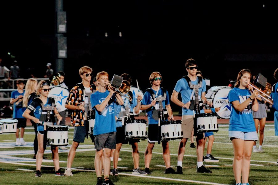 The+marching+band+plays+on+the+football+field+for+the+first+time+in+two+years