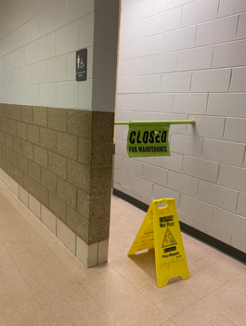 The boys bathroom in the 200s pod was among the few closed due to vandalism.