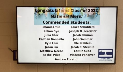 The TV in the link displays the 17 commended students for the NMSQT, a new record for North.